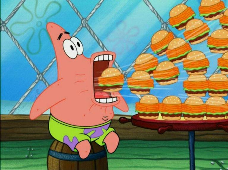 Patrick devorando o hambúrguer de siri
